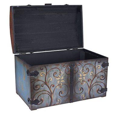 Household Essentials Vintage Wood Storage Trunk, Large