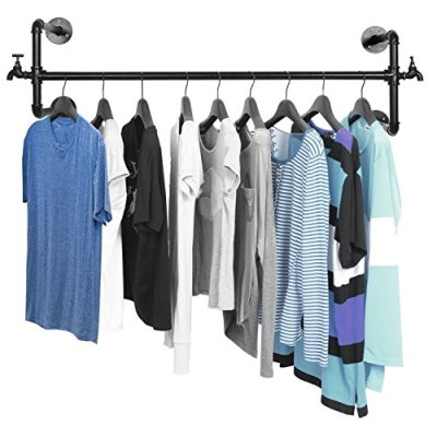 MyGift Black Metal Wall Mounted Faucet Design Closet Rod Garment Rack