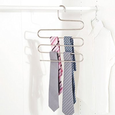 6 Pack Pants Hangers, S-Type Closet Organizer & Stainless Steel
