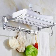 Candora 24in Wall Mounted Shelf Towel Rack Stainless Steel