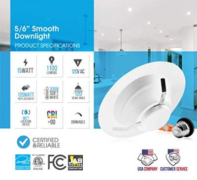 Parmida (12 Pack) 5/6 inch Dimmable LED Recessed Retrofit Downlight