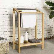 MyGift 3-Bar Freestanding Natural Wood Bathroom Towel Rack