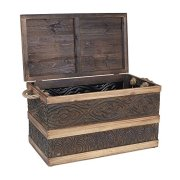 Household Essentials Decorative Metal Banded Wooden Storage Trunk