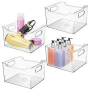 mDesign Deep Plastic Bathroom Vanity Storage Bin with Handles