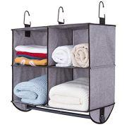StorageWorks 4 Section Hanging Closet Organizer with Metal Garment Rod