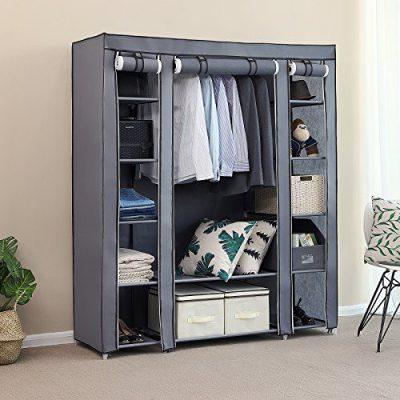 SONGMICS 59 Inch Closet Organizer Wardrobe Closet Portable Closet shelves
