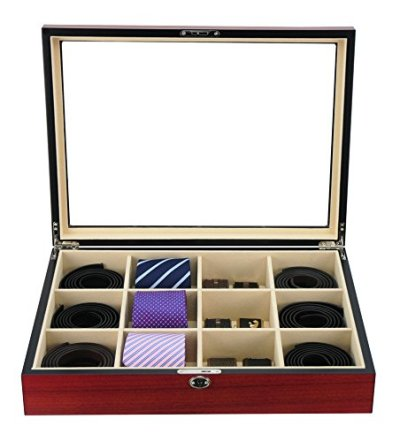 Display Case for 12 Ties, Belts, and Accessories Cherry Wood Storage