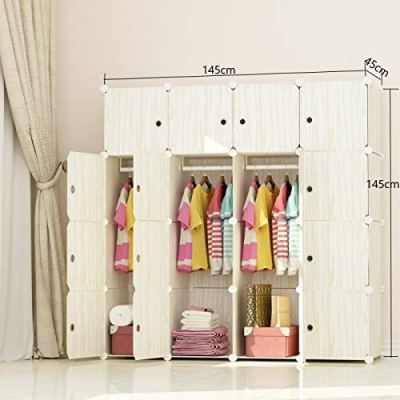 JOISCOPE MEGAFUTURE Wood Pattern Portable Wardrobe Closet