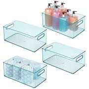 mDesign Deep Plastic Storage Bin Basket Tote with Handles for Organizing