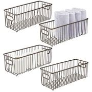 mDesign Deep Metal Bathroom Storage Organizer Basket Bin