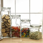 Set of 4 Glass Canister Jars with Air Tight Lids for Kitchen or Bathroom