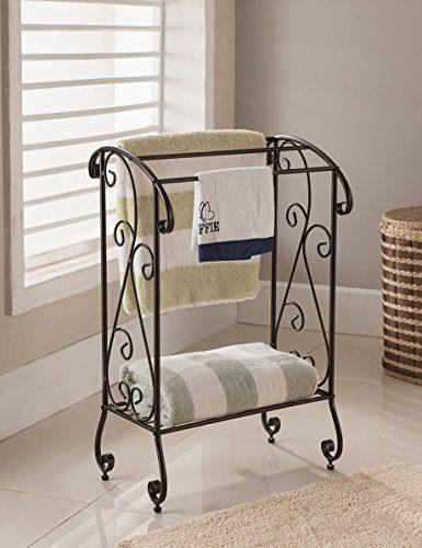 Kings Brand Furniture - Coffee Brown Metal Free Standing Towel Rack Stand