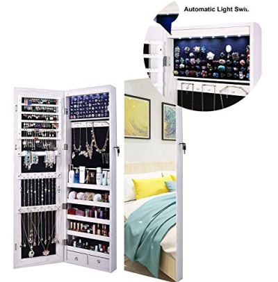 AOOU Jewelry Organizer Jewelry Cabinet, Full Screen Display View Larger Mirror