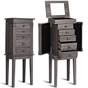 WATERJOY Jewelry Armoire Mirrored Jewelry Cabinet Free Standing Jewelry