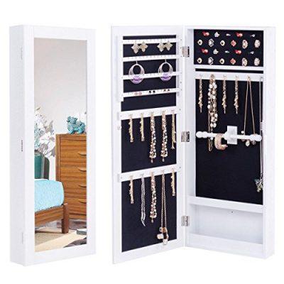 WATERJOY Mirror Jewelry Cabinet, Lockable Wall/Door Mounted Storage