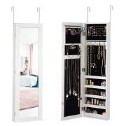 Giantex Mirrored Jewelry Cabinet Door Wall Mounted Armoire Bedroom