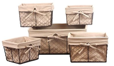 DII Vintage Chicken Wire Basket Removable Fabric Liner