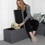 SONGMICS 43 Inches Fabric Storage Ottoman Bench with Lift Top