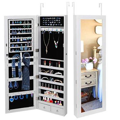 SUPER DEAL Jewelry Armoire Lockable Jewelry Cabinet Wall/Door