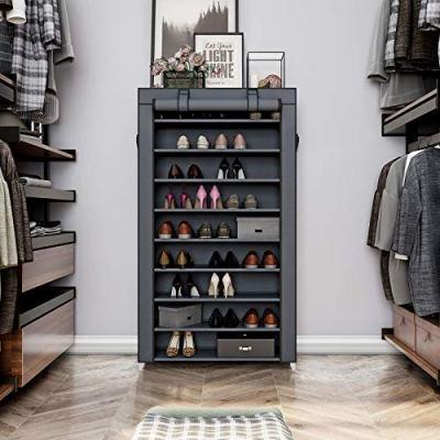 SONGMICS 10 Tiers Shoe Rack with Dustproof Cover Closet Shoe Storage