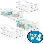 mDesign Stackable Plastic Bathroom Vanity Storage Bin with Handles