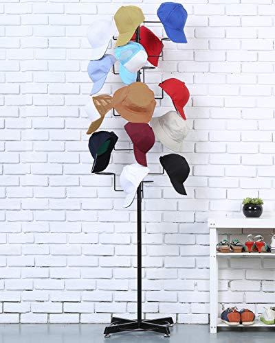 Modern Black Metal Freestanding Customizable Retail Hat Rack
