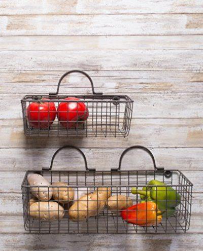 DII Vintage Wire Wall Basket, Medium, Gray