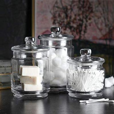 Whole Housewares Clear Glass Apothecary Jars-Cotton Jar-Bathroom Storage