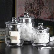 Whole Housewares Clear Glass Apothecary Jars-Cotton Jar-Bathroom Storage