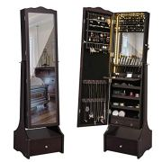 SONGMICS 39.4'' LED Light Strip Jewelry Cabinet Armoire