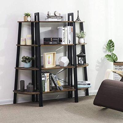 VASAGLE Industrial Ladder Shelf, 4-Tier Bookshelf, Storage Rack Shelves