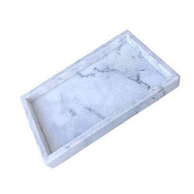 Gnirue Natural Marble Tray, Kitchen Bathroom Storage Organizer