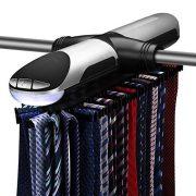 Flexzion Motorized Tie Rack - Electronic Rotating Automatic Necktie Tie
