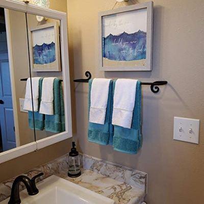 RTZEN Decorative Wrought Iron Towel Holder | Long Towel Bar Rack for Kitchen