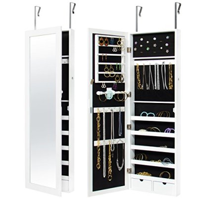 Best Choice Products Wall Door Mounted Locking Mirror Jewelry
