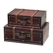 SLPR Decorative Suitcase with Straps (Set of 2, Brown)