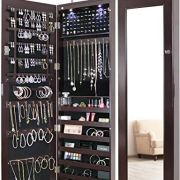 Greenco Door Jewelry Organizer Armoire with Large Led Lights