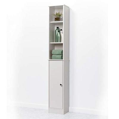 Zenna Home Bathroom Linen Tower Shelf Cabinet, White