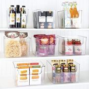 mDesign Plastic Open Front Food Storage Bin for Kitchen Cabinet
