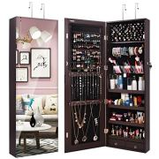TomCare Jewelry Organizer Jewelry Cabinet Wall Door Mounted Jewelry