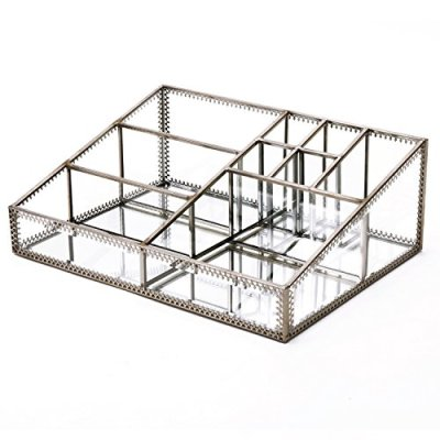 Hersoo Glass Makeup Organizer Cosmetic Storage for Vanity