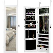 Giantex Wall Mount Jewelry Armoire Cabinet with 15 LED Lights