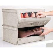 mDesign Stackable Fabric Closet Storage Organizer Shoe Box Bin
