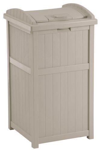 Suncast 33 Gallon Outdoor Trash Can for Patio - Resin Outdoor Trash Hideaway