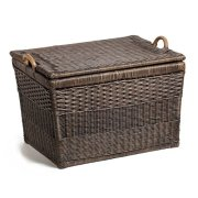 The Basket Lady Lift-Off Lid Wicker Storage Basket, Medium