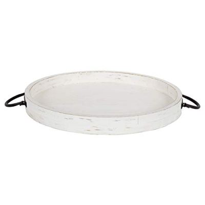 Kate and Laurel Marmora Wood and Metal Round Tray