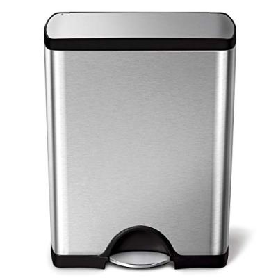 simplehuman 50 Liter / 13.2 Gallon Stainless Steel Rectangular Kitchen Step