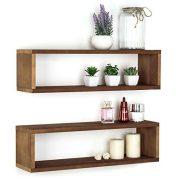 MyGift Natural Wood Finish Wood Wall Mounted 24-Inch Floating Shelf