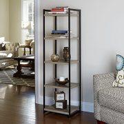 Household Essentials 5 Tier Storage Tower Metal, Grey Shelf