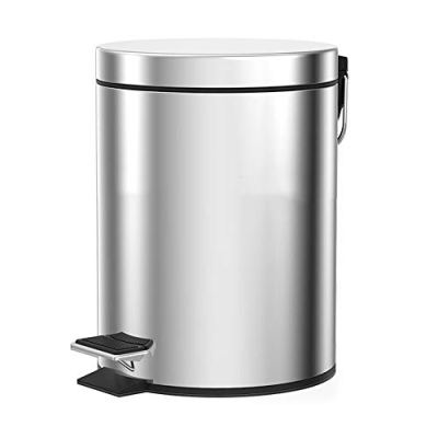 DBAL 20 Liter Stainless Steel Round Trash Can with Lid, Pedal, Mute